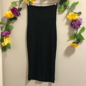 Dress the Population Midi Ribbed Stretch Skirt